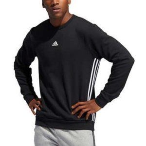 Adidas Black 3 Stripe Fleece Pullover Sweatshirt